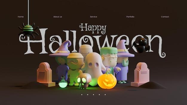 Halloween-webpaginasjabloon met 3d-renderingillustratie
