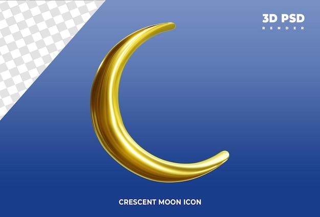 Halve maan 3d render pictogram badge geïsoleerd