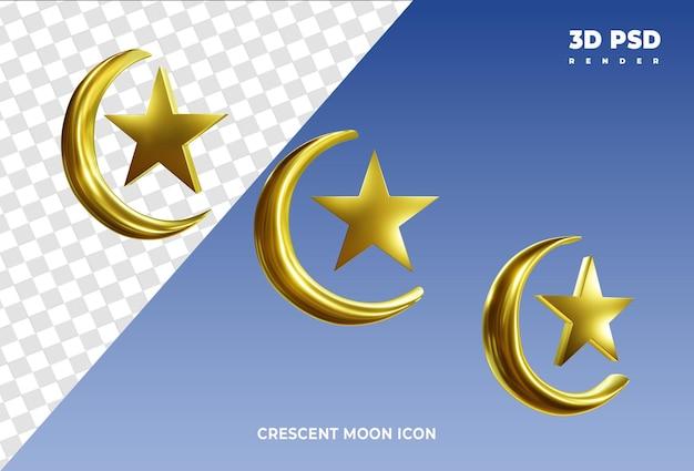 Halve maan en ster 3d render pictogram badge geïsoleerd