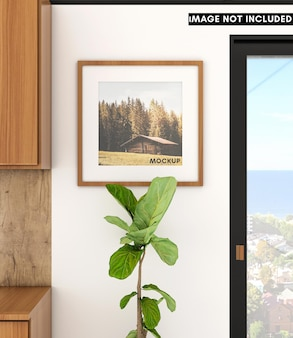 Halverwege de eeuw keuken in appartement met vierkant frame op witte muur