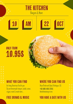Hamburger americano con menu di offerte speciali