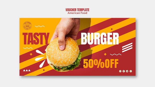 Hamburger amerikaans eten voucher sjabloon