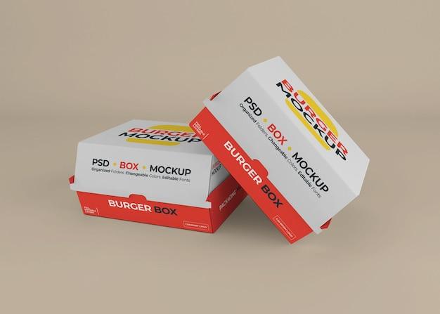Hamburger box verpakking mockup ontwerp geïsoleerd