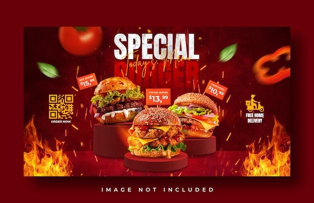 Hamburger eten menu promotie websjabloon voor spandoek