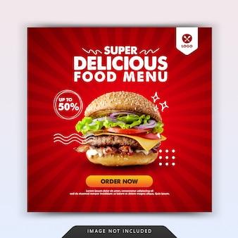 Hamburger fast food per modello di promozione post sui social media di instagram