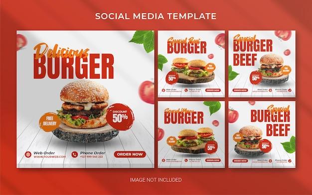 Hamburger fastfood vierkante instagram-sjabloon voor spandoek