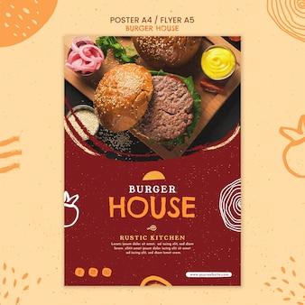 Hamburger huis poster sjabloon
