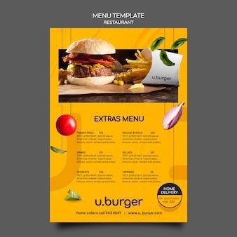Hamburger restaurant menusjabloon Gratis Psd