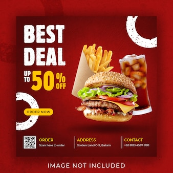 Hamburguesa comida menú promoción instagram post banner plantilla