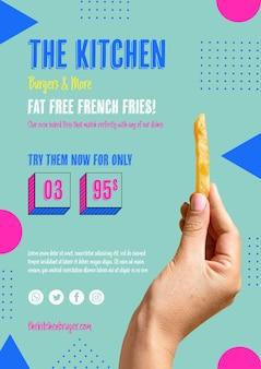 Hand die amerikaanse franse frie houdt