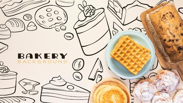 Hand getekend bakkerij achtergrond met pannenkoeken