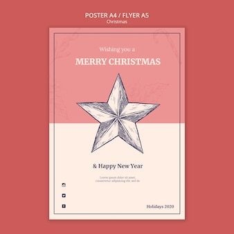 Hand getekend kerst poster sjabloon