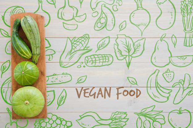 Hand getekend veganistisch eten achtergrond