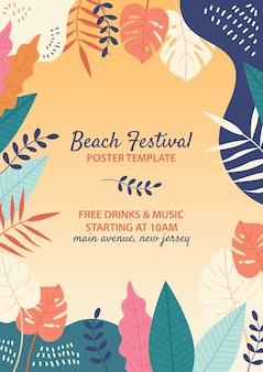 Hand getrokken strandfestival sjabloon