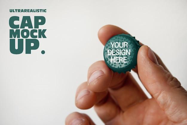 Hand holdign cap mockup