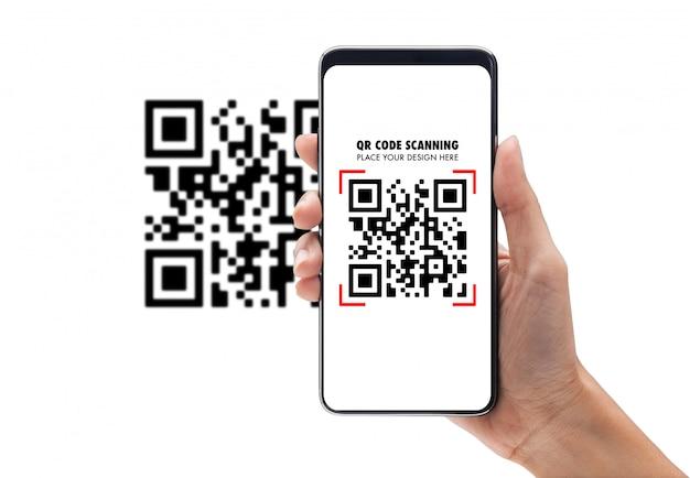 Hand met behulp van mobiele smartphone scan qr-code mockup sjabloon voor uw ontwerp