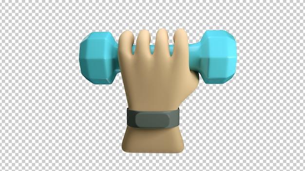 Hand met een fitnessarmband die een halter houdt die in het 3d teruggeven wordt geïsoleerd