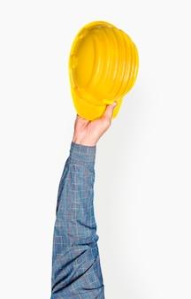 Hand met helm