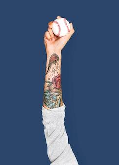 Hand met honkbal
