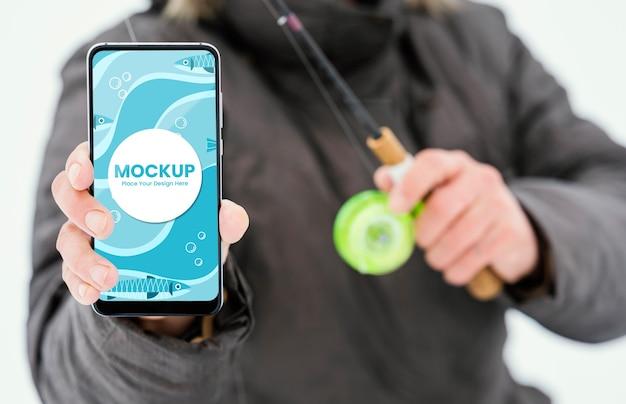 Hand met smartphone close-up