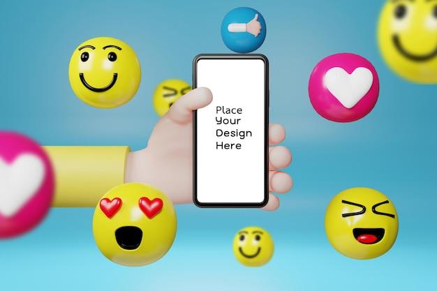 Hand met smartphone met cartoon emoticons pictogrammen voor sociale media.