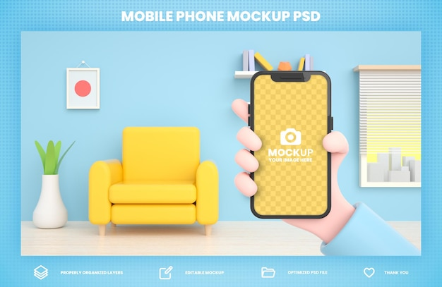 Hand met telefoon 3d rendering mockup voor social media postsjabloon
