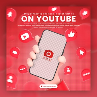 Hand met telefoon youtube-pictogrammen rond 3d-rendering mockup voor promotie youtube-postsjabloon