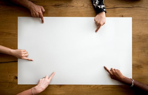 Hand show post note memo paper studio