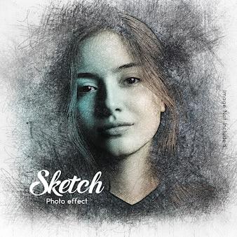 Hand tekening effect foto sjabloon