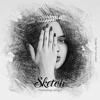 Hand tekening foto-effect sjabloon