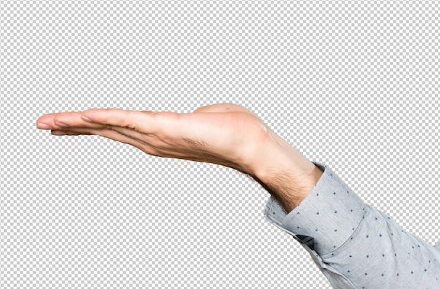 Hand van de mens iets te houden