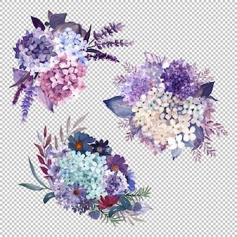 Handbeschilderde paarse hortensia boeketten in aquarel
