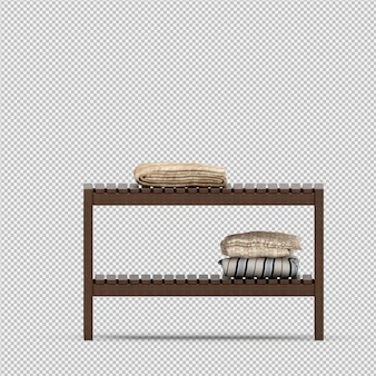 Handdoeken op een houten rek