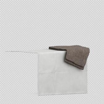 Handdoeken op geïsoleerde rand 3d geven terug