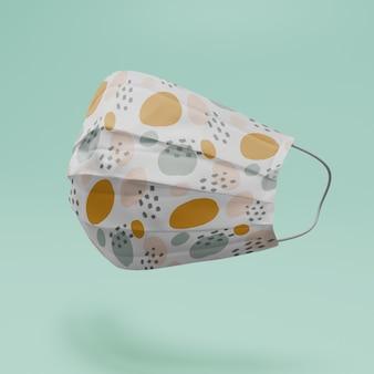 Handgemaakte gezichtsmasker mockup met abstracte vormen