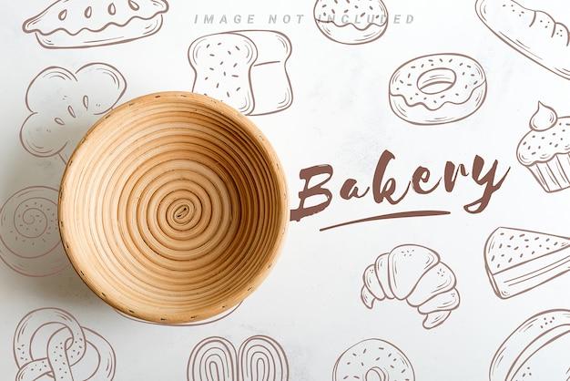 Handgemaakte rieten mand om te bakken met mockup-kopie ruimte