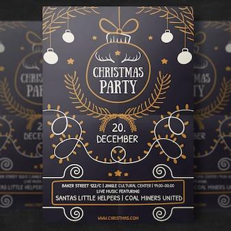 Handgetekende kerst flyer template
