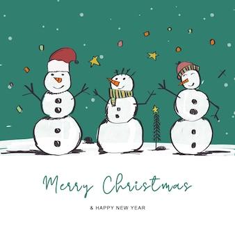 Handgetekende kerstwenskaart met sneeuwpopdecoratie