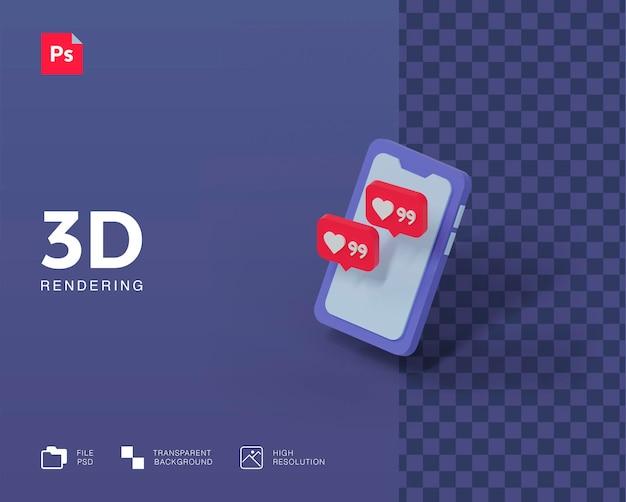 Handphone de ilustración 3d con notificación