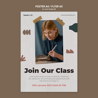 Handwerk klasse poster sjabloon