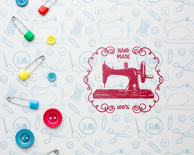 Handwerkmodel met naaimachine