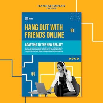 Hang rond met vrienden online flyer-sjabloon
