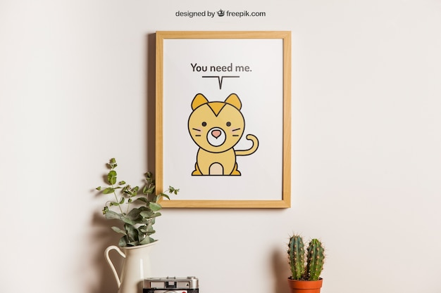 Hangend frame met schattige dierendecoratie
