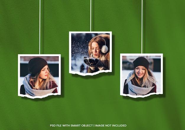 Hangend gescheurd portret fotopapier frame mockup premium psd