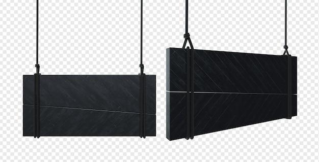 Hangend zwart houten bord vastgebonden met touwen geïsoleerd