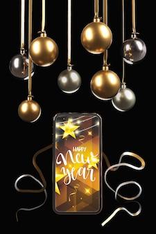 Hangende bollen boven telefoon met nieuw jaarthema