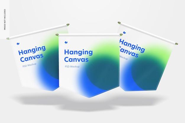 Hangende canvas wimpels mockup, drijvend Premium Psd