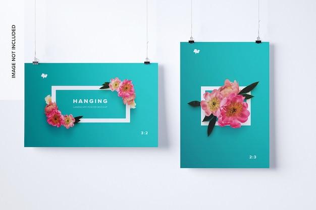 Hangende poster mockup landschaps- en portretweergave
