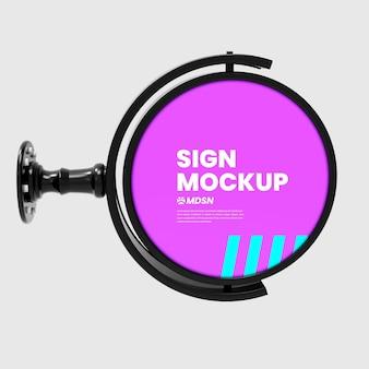 Hangende teken mockup buiten cirkel neonbox zwart ontwerp geïsoleerd renderen