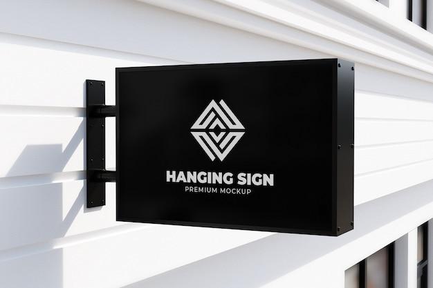 Hangende teken mockup buiten horizontale neonbox zwart